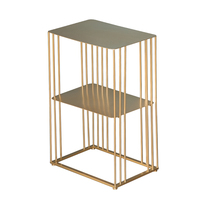 Simple wrought iron double layer corner table creative sofa side small table apartment storage rack bedside table shelf