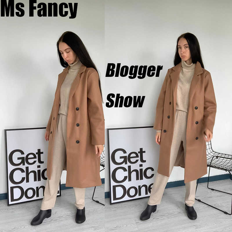 Autumn Winter coats female Elegant Black Overcoat Korean Style Women Long Double-breasted Coat
