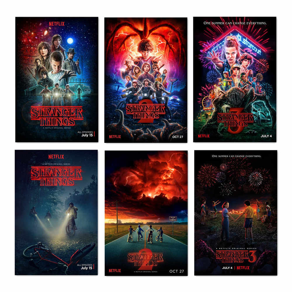 Stranger Things Posters Season 3 2 1 4 Vintage Tv Movie Prints Living Stickers Bedroom Decor 40x60 50x75cm Silk Canvas Wall Art Painting Calligraphy Aliexpress