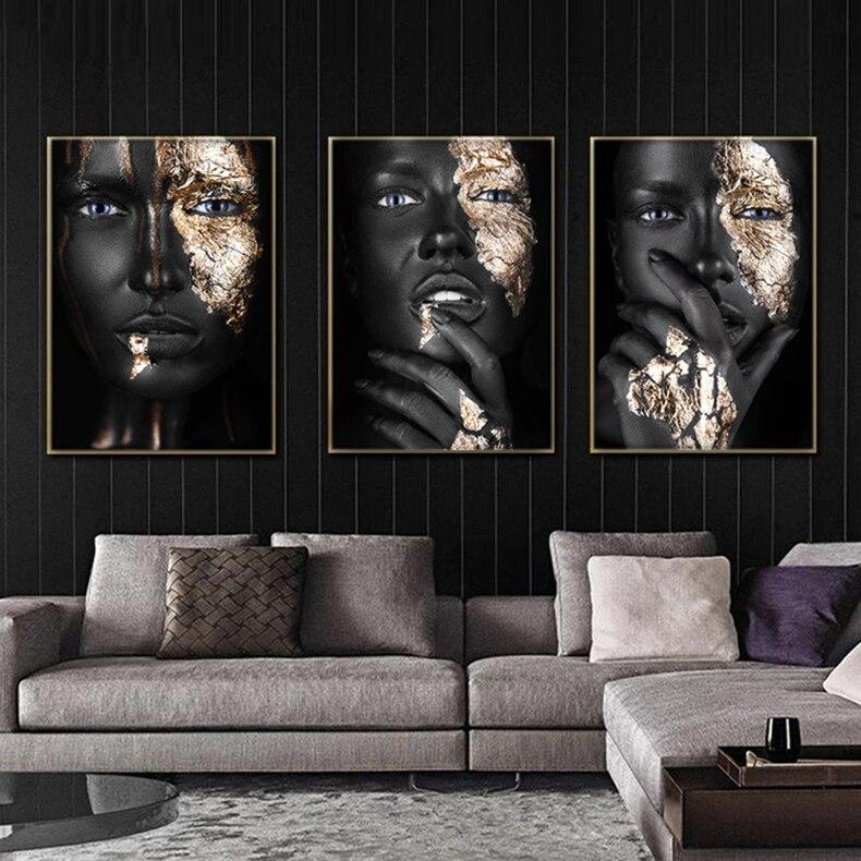Современная живопись на холсте, постеры и принты африканских черных женщин, скандинавские настенные картины для гостиной, Настенный декор