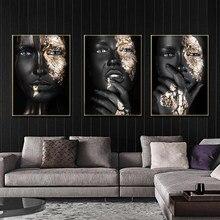 Arte moderna pintura da lona africano preto mulher cartazes e cópias escandinavo arte da parede fotos para sala de estar decoração da parede