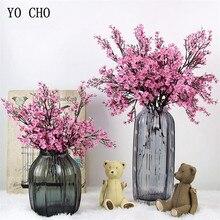 Gypsophila Kirschblüten Künstliche Blumen rosa kunststoff zweig orientalischen kirsche Gefälschte Blumen DIY Für Hochzeit hause shop Deco