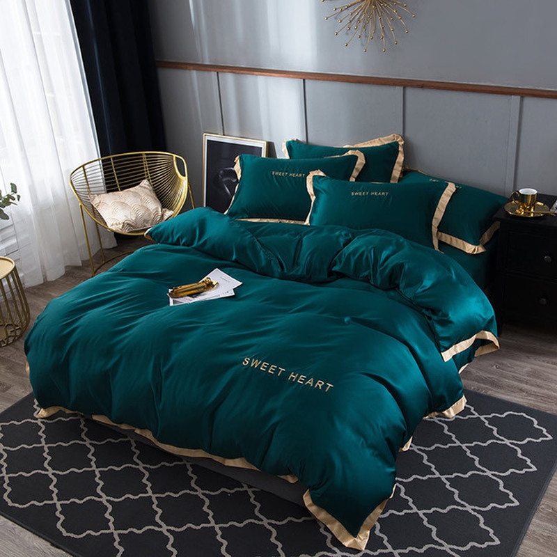 Nouveau 100% ensemble de literie en soie naturelle avec housse de couette drap de lit taie d'oreiller de luxe 4 pièces Satin literie linge de lit King Queen Twin Size
