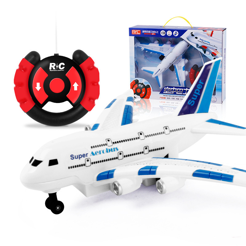 Children Remote Control Air Bus Model Steering Wheel SMV Remote Control Aircraft Lights Music Electric Toys Wholesale