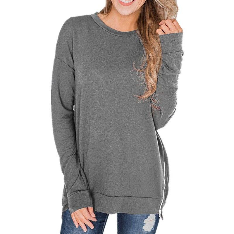 Gladiolus Loose Side Zipper Women Sweatshirt Solid Asymmetric Patchwork Raglan Long Sleeve Round Neck Autumn Tops Sweatshirts