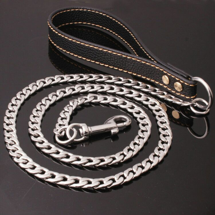New Style Stainless Steel Leather Rope Welded Junction NK Pendant Hand Holding Rope Training Dog Pet Dog
