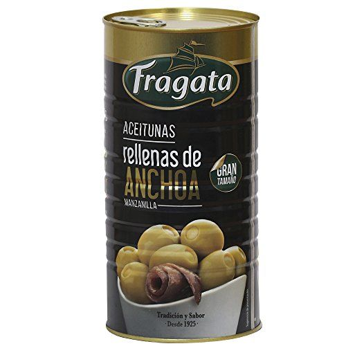 Fragata - Anchovy Filled Green Manzanilla Olives - 2 Tins X 1450g (net Weight)