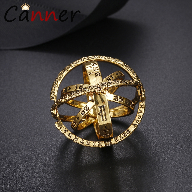 Ball-Ring Finger-Rings Jewelry Astronomical Letter Gift Gold Love Couple Men for Creative