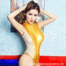 Women PU V Neck Leather Wetlook One-piece Deep Front Zipper Leotard Bodysuit Catsuit Clubwear Sexy Club Costumes DV276(China)