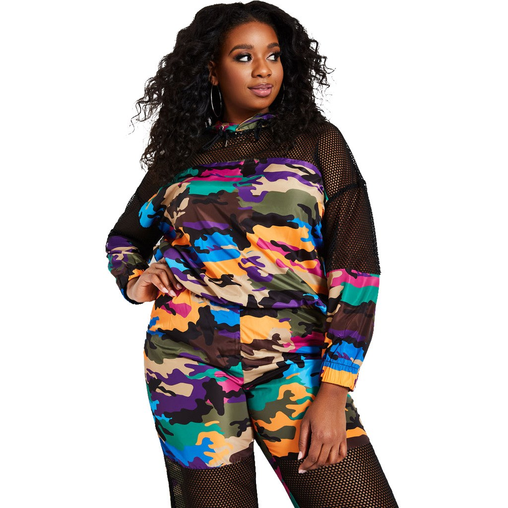 Nice Plus Size 2 Piece Set Women Tracksuits Summer Camouflage Hoodies And Pant Sets Sexy Matching Sets Mesh Sweat Suit