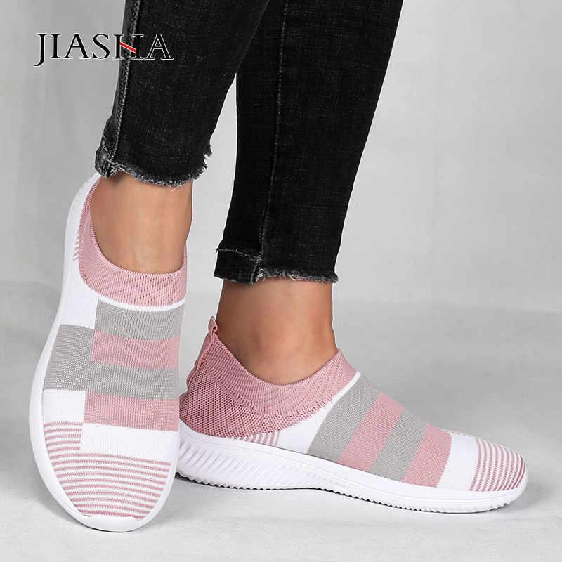 أحذية رياضية للنساء أحذية موضة جديدة خفيفة الوزن محبوك حذاء كاجوال امرأة تنفس شبكة الأحذية الإناث الأحذية تنيس feminino