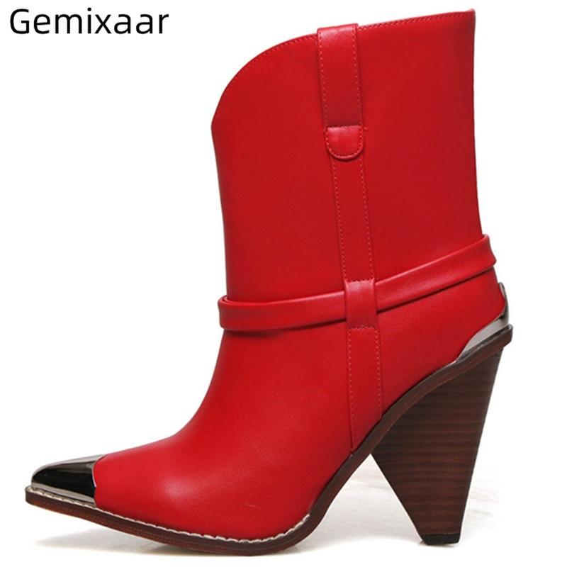 Chic Metal Point Toe Boots Women High Spike Heel Ladies Chelsea Bottes Comfy Slip On Multy Colors Walking Footwear Woman Boots