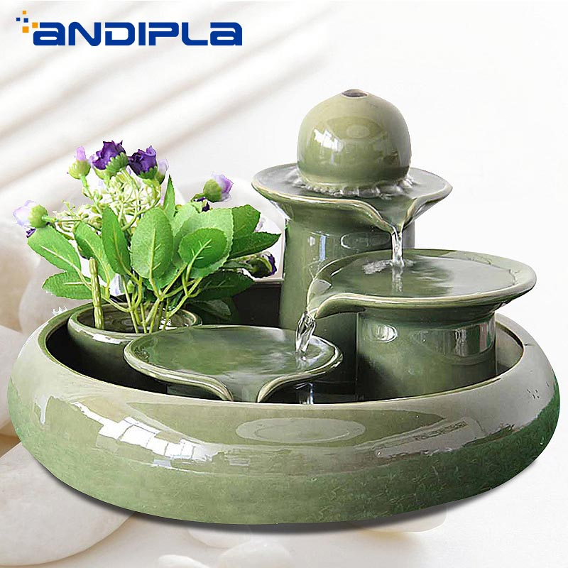 110/220V Creative Ceramic Craft Lucky Water Fountain Living Room Desktop Water Cycle Ornament Air Humidifier Fengshui Home Decor