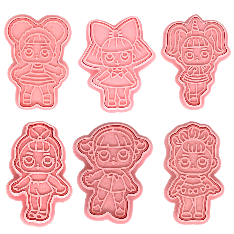 6pcs/sets LOL Cartoon DIY Christmas Cookie Cutters Tools 3D Anime Biscuit Press Mould Lols Doll Action Figure For Child With Box