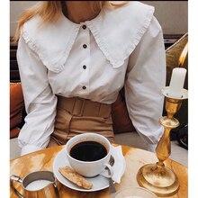 Cosmicchic 2020 Summer Women Long Sleeve Stripe Blouse Doll Turn Collar Single-breasted Shi