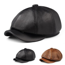 T-MAC 2020 Fashion Women Genuine Leather Octagonal Caps Newsboy Cap Vintage Bonnet Beret