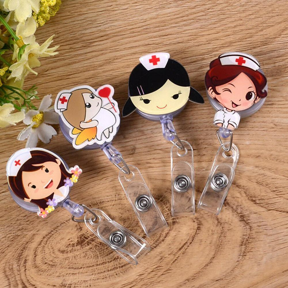Retractable Nurse Badge Reel Clip Cartoon Doctor Nurse Hospital  Students IC IDENTIFICATION Card Support Badge Holder Clip