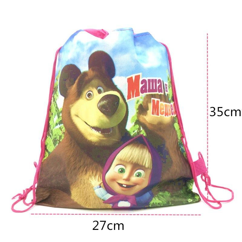 1pcs Masha And The Bear Drawstring Bag For Girls Travel Storage Package Cartoon School Backpacks Children Birthday Party Favors