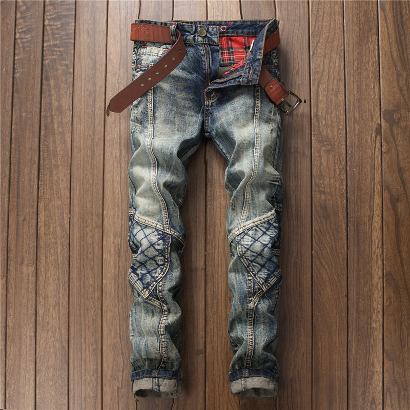 2018 Four Seasons Paragraph Retro Color Jeans Men's Stitching Straight-Cut MEN'S Jeans Western Style