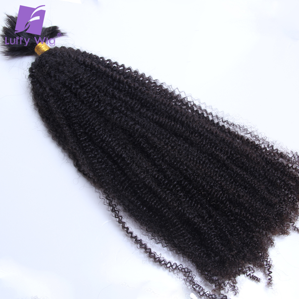Afro Kinky Curly Bulk Human Hair For Braiding Mongolian Remy Hair No Weft Hair Bundles Natural Black 100g/pc 1pc/lot Luffywig