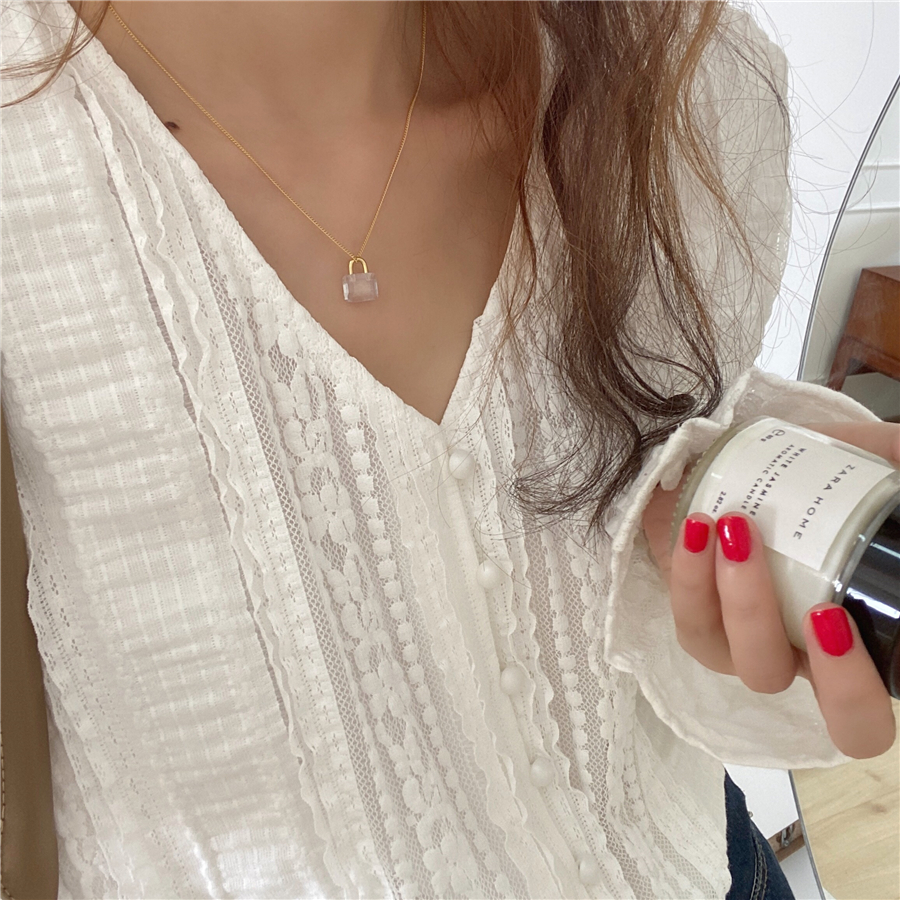 H990e0d1a2031490ea4ebd12b17ff9fcax - Spring / Autumn V-Neck Long Sleeves Lace Buttons Blouse