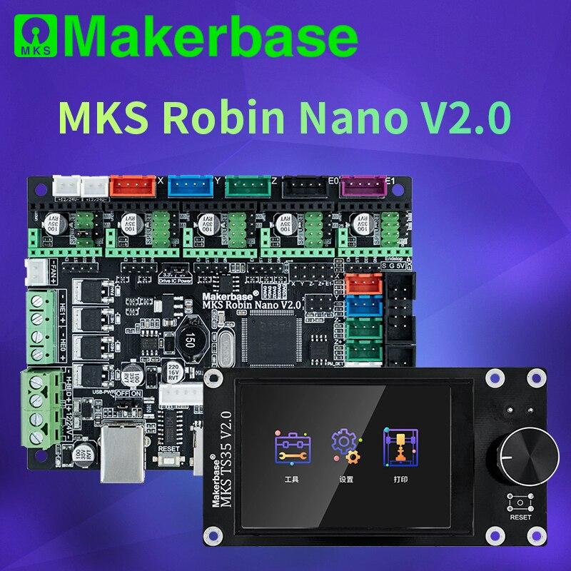 Makerbase mks robin nano v2.0 32bit placa de controle impressora 3d peças base em marlin2.x 3.5 tft tela toque visualização gcode