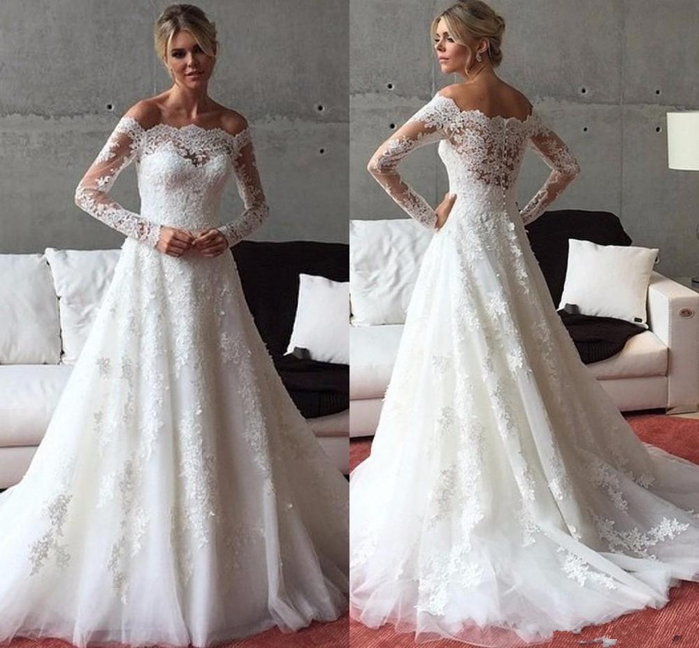 Vintage Wedding Dresses Long Sleeve A Line Boat Neck Lace Appliques Country Western Wedding Dress 2020 Cheap Custom Made