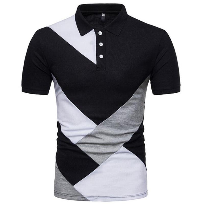 PZBB69 Été Nouveaux Hommes décontracté Mosaïque Manches Courtes T-shirt Homme Col Rabattu Bouton Slim Fit T-shirts en coton de mode