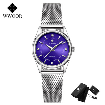 2020 WWOOR Fashion Brand Ladies Watches Luxury Diamond Rose Gold Women Bracelet Watch Elegant Dress Watch For Girls montre femme - Blue