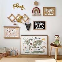 Educativo mapa del mundo Animal imagen niños Poster para guardería pared Lona de arte pintura impresión bebé chico dormitorio sala de juegos Decoración