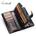 CONTACT'S Мужской кошелек из натуральной кожи с отделением для телефона мужские длинные кошельки кошелек на молнии 2019