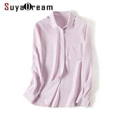 SuyaDream, Женская одноцветная шелковая блуза, 100% натуральный шелк, креп, длинный рукав, один нагрудный карман, офисные блузки, 2019, осенняя рубашк...