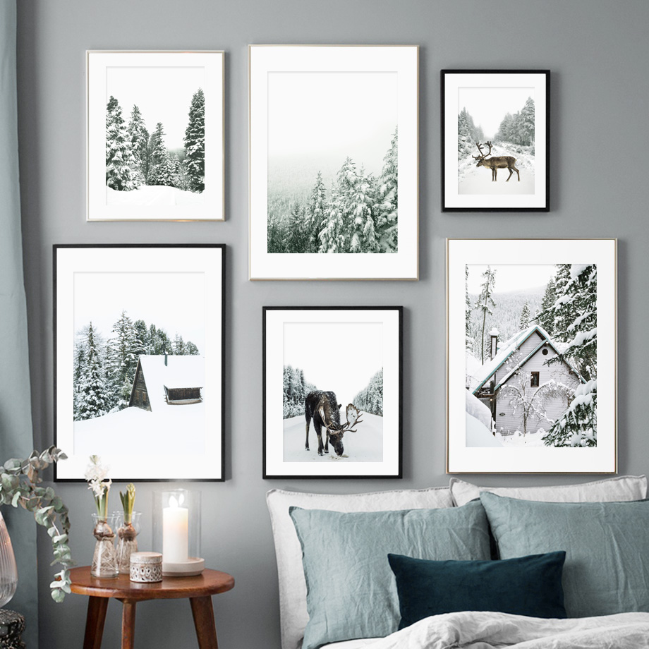 Alps Snow Scene Pine Forest Reindeer Wall Art Canvas Painting Nordic Posters And Prints Wall Pictures For Living Room Home Decor