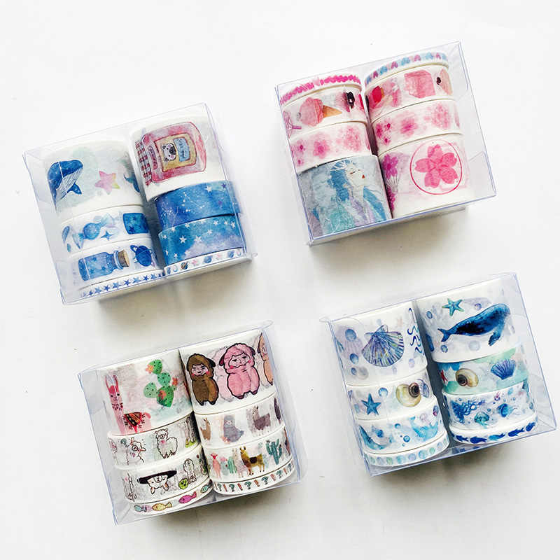 1 Set 8 Rolls Cute Fantasy Whale Alpaca Under The Sea World Sakura And Girl Masking Tape Album Scrapbooking Decor Washi Tape