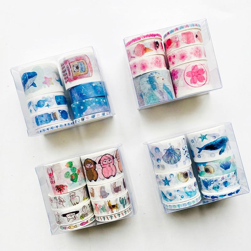1 Set 8 Rolls Cute Fantasy Whale Alpaca Under The Sea World Sakura And Girl Masking Tape Album Scrapbooking Decor Washi Tape