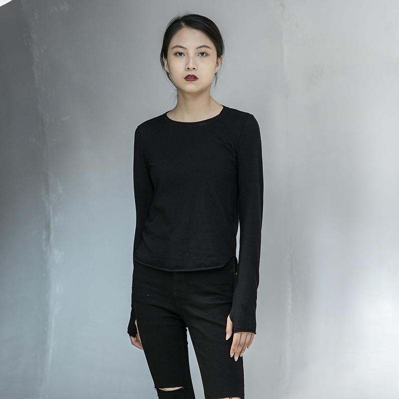 [EAM] Women Black Line Split Joint Temperament T-shirt New Round Neck Long Sleeve  Fashion Tide  Spring Autumn 2020 1DA905 4