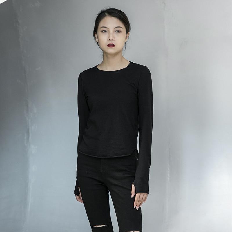 [EAM] Women Black Line Split Joint Temperament T-shirt New Round Neck Long Sleeve  Fashion Tide  Spring Autumn 2020 1DA905 4
