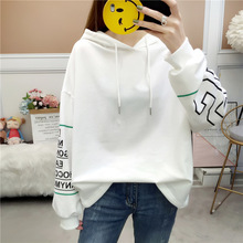 2019 Autumn  Women Hoodies Fashion Casual Fleece Loose Pullover Sweatshirt Harajuku Printed Female Hooded Tops
