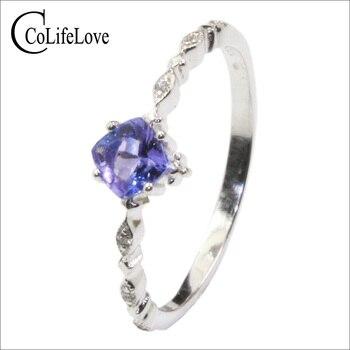 100% real tanzanite engagement ring 4mm VS tanzanite silver ring 925 silver tanzanite ring for woman