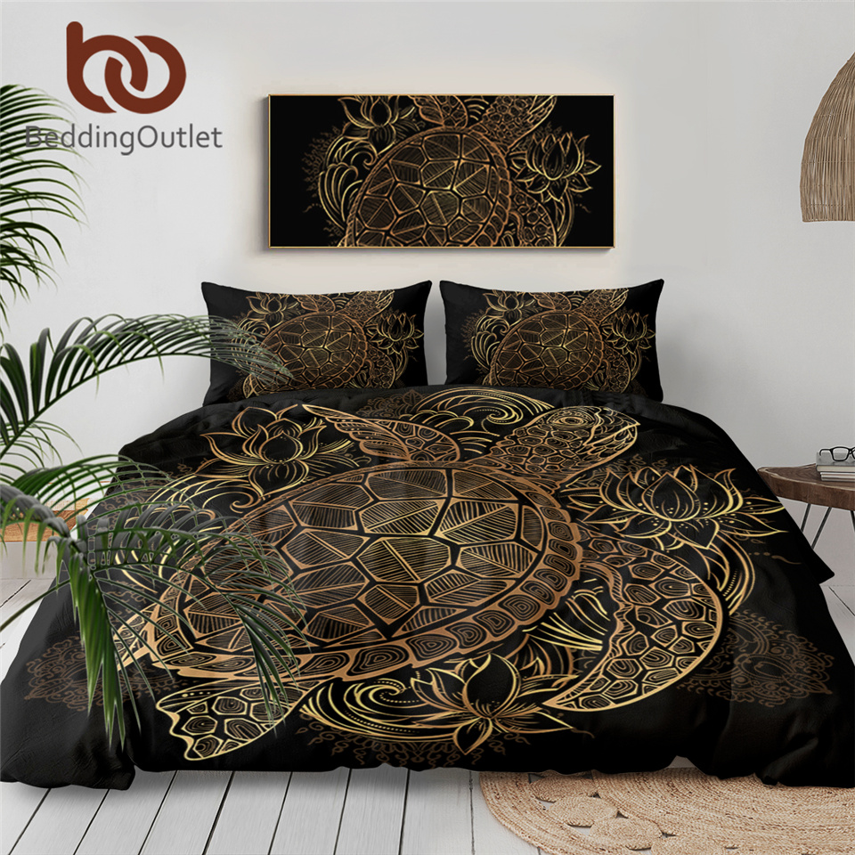 BeddingOutlet Turtles Bedding Set Duvet Animal Golden Tortoise Bed Cover Set King Sizes Flowers Lotus Home Textiles 3pcs Luxury