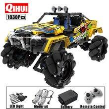 Qihui 1030 pces cidade rc carro 4wd fora de estrada blocos de construção de alta tecnologia de controle remoto de corrida buggy caminhão suv tijolos brinquedos para crianças