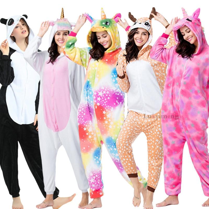 Adults Animal Panda Kigurumi Pajamas Unicorn Anime Costumes Winter Women Sleepwear Licorne Pyjamas Blanket Sleepers Overalls