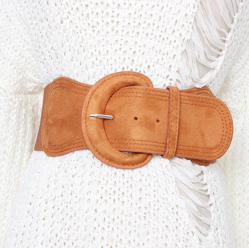 Women's Runway Fashion Elastic Cummerbunds Female Dress Corsets Waistband Belts Decoration Wide Belt R1989
