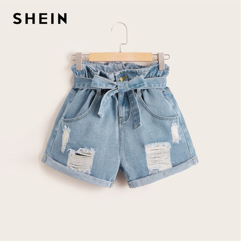 SHEIN Plus Size Blue Belt Paper-bag Waist Ripped Roll Hem Denim Shorts Women Summer Button Fly High Waist Casual Plus Shorts