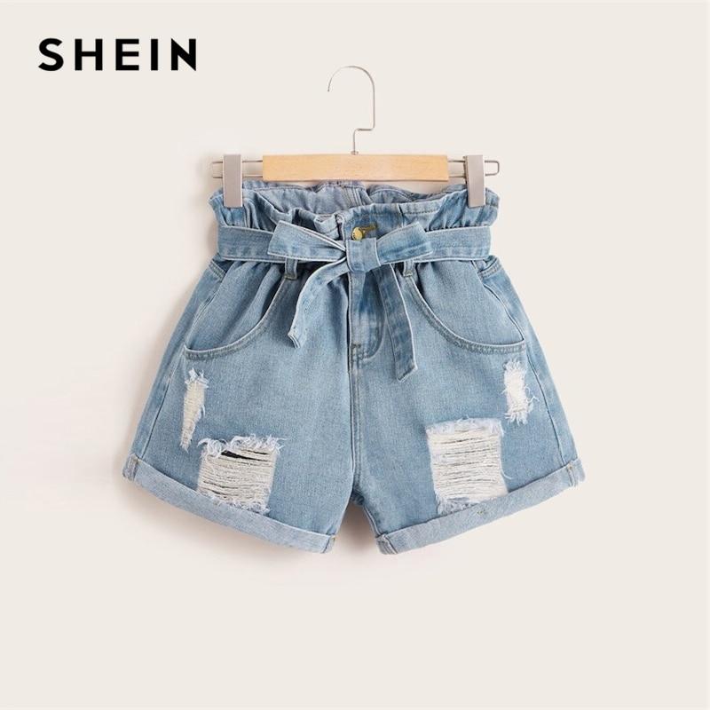 SHEIN Plus Size Blue Belt Paper-bag Waist Ripped Roll Hem Denim Shorts Women Summer Button Fly High Waist Casual Plus Shorts