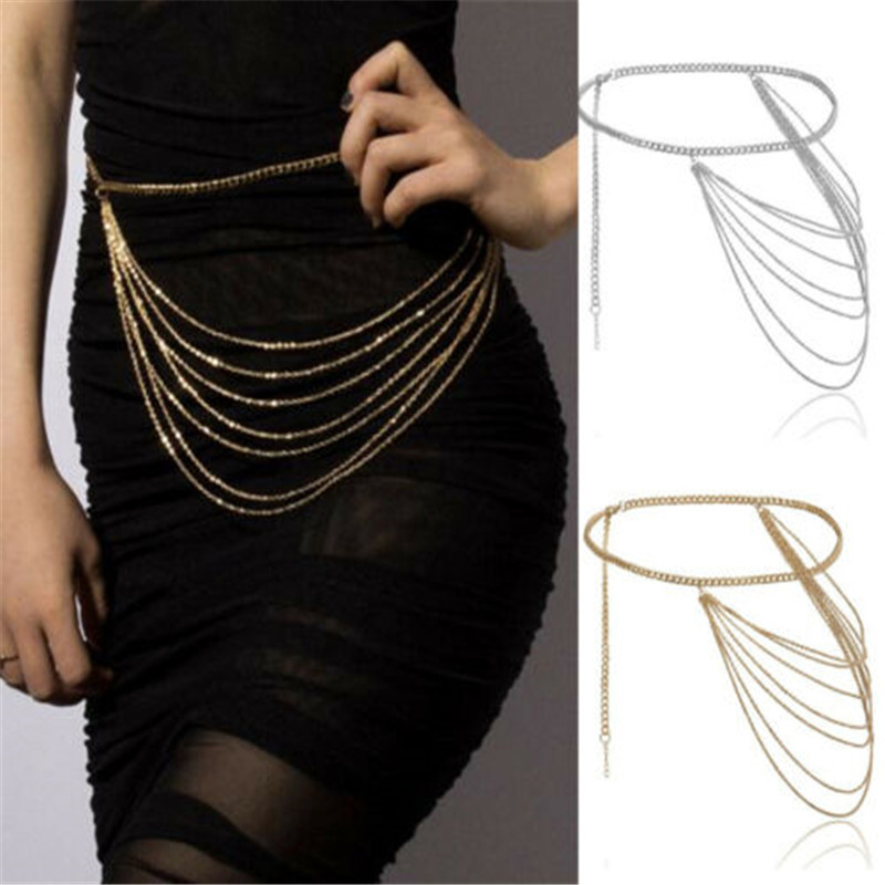 Women Fashion Belt Hip High Waist Gold Silver Narrow Metal Chain Chunky Fringes Crystal Diamond Waist Chain Tassel Belt Hot Sale