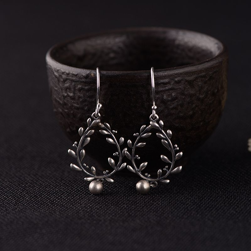 925 Sterling Silver Fancy Design Dangle Earrings