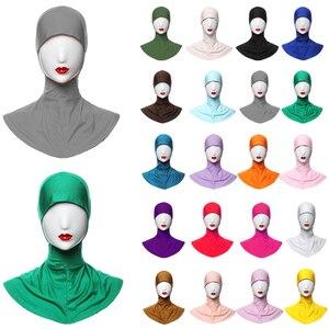 Image 1 - Gorro de hueso musulmán para mujer, hiyab islámico, para debajo de la bufanda, cubierta para el cuello, ropa interior para la cabeza, hiyab, liso