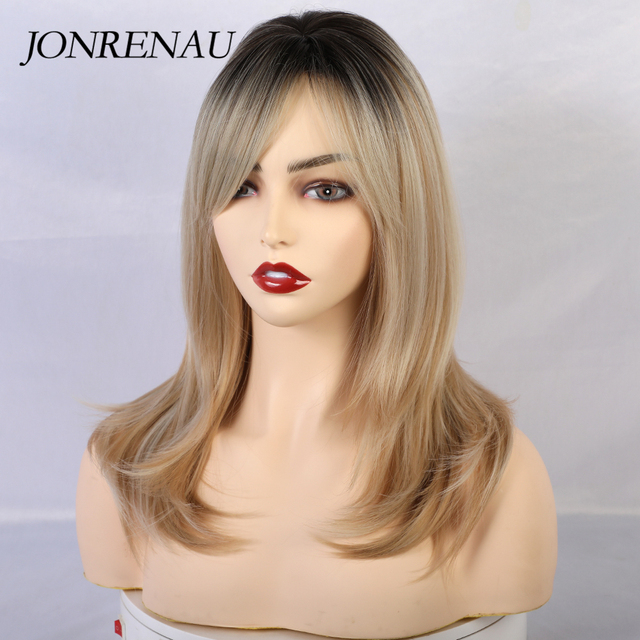 JONRENAU peluca largo sintético con flequillo de raíz oscura, cabello marrón degradado, pelucas de alta calidad con ondas naturales para mujeres blancas/negras