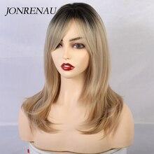 Jonrenau peruca longa sintética com bang raiz escura ombre cabelo castanho onda natural perucas de alta qualidade para branco/preto